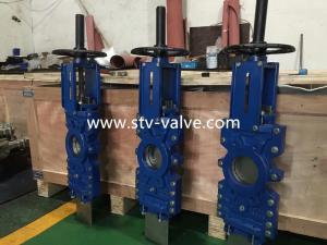 China STV EPDM Seat Pneumatic Through Conduit Knife Gate Valve,DN125,WCB,Wafer Type on sale