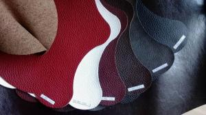China Recycled Eco Friendly Leather Fabric With Red Wine / Brown Double Colors Printing on sale