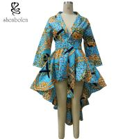 High Low Hem Wrap African Inspired Dresses Clothing With Belt , African Print Wedding Dresses