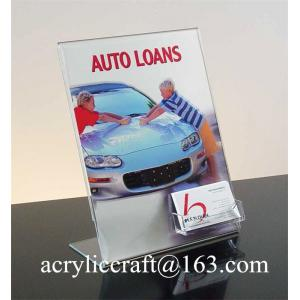 China Clear slant acrylic brochure holder for instruction leaflet with name card holder on sale
