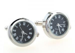 China Round Electronic Watch Style Stainless Steel Cufflinks For French Shirt Cuffs on sale