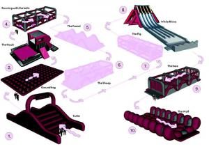 China Fire Proof Inflatable Obstacle Challenges For Playground , Amusement Park on sale