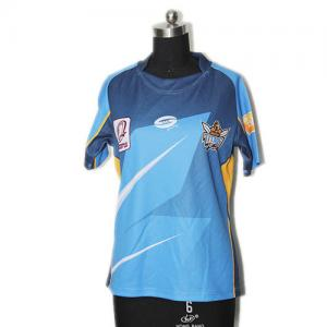 China Round Collar Rugby Union Clothing Custom Sublimated Rugby Jersey Anti - Bacterial on sale