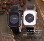 wholesale Pu watch Rectangular dial alloy case  quartz watch fashion watch concise style black/white dial