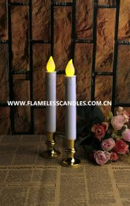 China Extra Bright Flameless LED Taper Candles, Auto Timer and Removable Base on sale