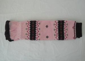 China Fashion Pink Knitted Leg Warmers , Women's Cotton Knitted Leg Warmers For Winter on sale