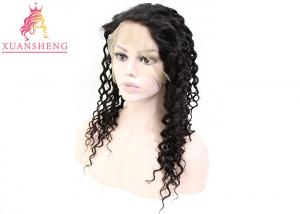 China 100% Virgin Hair Brazilian Unprocessed Hair Transparents Full Lace Deep Wave Wigs on sale