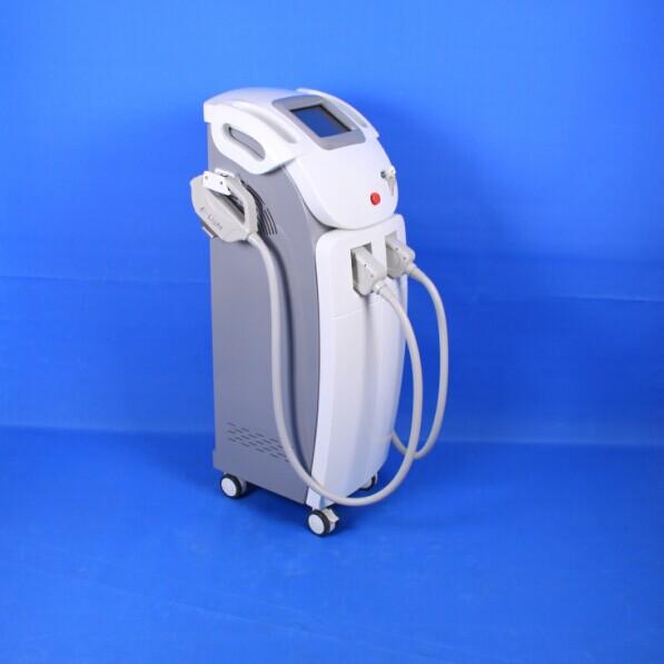 Face IPL skin rejuvenation syst , 410nm - 1200nm Dual Handle E-light Hair Removal Instrument
