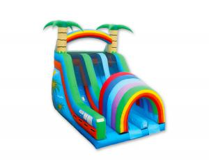 China Water Park Paradise Inflatable Slip And Slide , Dual Lanes Kids Blow Up Water Slide on sale