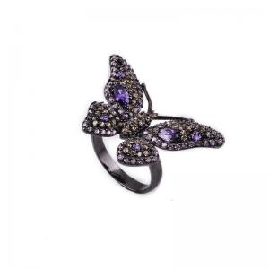 China Low MOQ Diamond Animal Jewelry - Butterfly Zircon Silver Ring With Resonable Price on sale