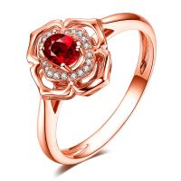 Rose Gold Fine Gemstone Jewelry Ruby And Diamond Engagement Ring