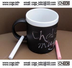 China Glazed/Porcelain fashion Chalk Mug wholesale11oz Ceramic Chalk Mugs popular chalk mug on sale