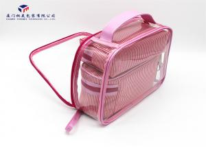 China Soft PVC Bags Pink PU Handle Custom Lady Handbag Fashion Women Bag on sale