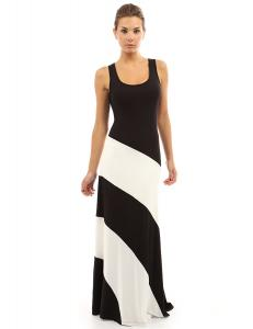 China Muti Panels Womens Maxi Sundresses , Black And White Striped Maxi Dresses For Tall Women on sale