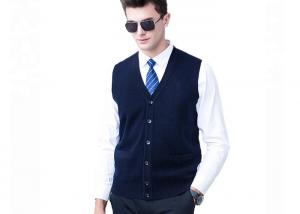 China Button Soft Acrylic Business Black Mens Knit Cardigan Sweater Vest For Men on sale