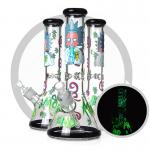 Hand Drawing Rick And Morty Bong 7mm Glass Smoking Hookah Pipe Luminous Design