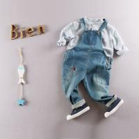 Eco - Friendly Cotton Kids Denim Overalls Jeans For Toddler Boy / Girls