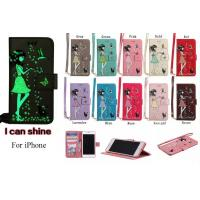 Luminous 3D Girl pattern PU iPhone Case with Cash Slots Stand Wristlet Strap for iPhone