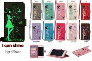 China Luminous 3D Girl pattern PU iPhone Case with Cash Slots Stand Wristlet Strap for iPhone on sale