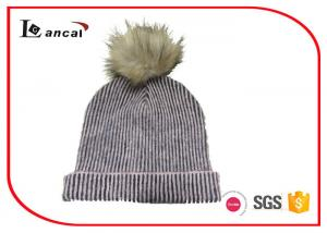 China Two Color Ribbed Mohair Acrylic Womens Knitted Beanie Hats With Faux Fur Pom on sale