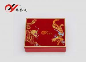 China Red Velvet Lacquered Wood Jewelry Box Food Grade For Jewellery Storage on sale