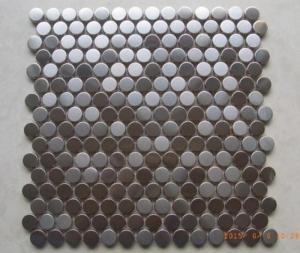 China Antique Small Metallic Border Tiles , Stainless Steel Penny Round Mosaic Tile on sale