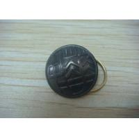 Button Shape Promotional Keychain by Brass Stamping with Man - Woman Mould, Dyed Black Plating
