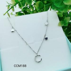China 925 Sterling Silver Star Moon CZ Charm Choker collarbone chain necklace  CCM188 on sale