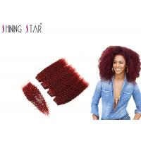99J Red Curly Weave Hair Extensions , Burgundy Natural Curly Hair Extensions