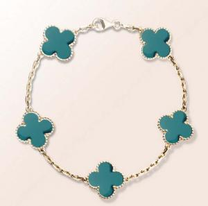 China 316L S.Steel Top Fashion turquoise clovers lucky flowr bracelet necklace jewelry set on sale