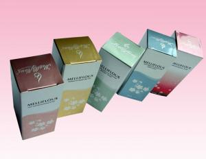 China custom cosmetic paper box size online with embossed silver stamping logo for sale on sale