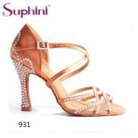 Suphini high quality satin with rhinestones woman salsa dance sandal high heel shoes