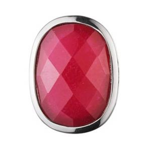 China Fashion pretty stainless steel pink semi precious stone ring with logo for girls  on sale