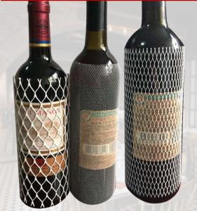 China PE Protective Mesh Bottle Sleeves , Plastic Mesh Sleeving For Wine Bottle Net Set on sale