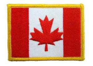 China Three thread colors and iron-on , twill 100% embroidered Canadian flag patches on sale