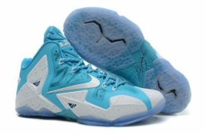 China Nike Lebron James 11 Mens White Sea Blue Basketball Shoes on sale