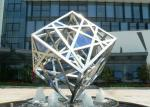 Large Modern Cube Sculpture Stainless Steel Fountain Outdoor Decorative