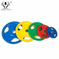 High Quality Colorful Fitness Rubber Coated Grip Weight Plate