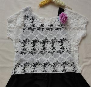 China crochet white lace blouse and skirt mesh shott sleeveless lace vest on sale
