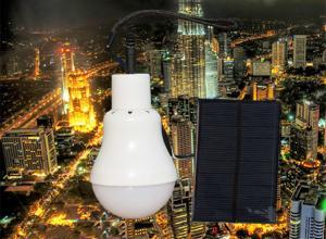 China High quality CE Certification Energy saving 5w solar LED bulb Solar Panel Charging Battery Led Bulb on sale