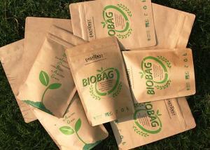 China Kraft Paper Biodegradable Snack Bags , Bio Food Bags Logo Printed on sale