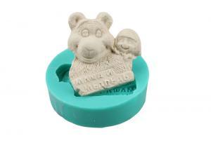 China Flexible Handmade Christmas Silicone Cake Molds Bear Hold Girl Shaped on sale