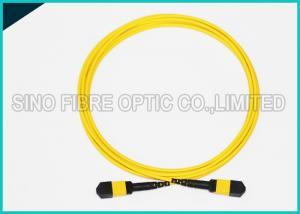 China 12 Cores MPO to MPO Single Mode Fiber Optic Cable Corning SMF-28e Riser Rated on sale