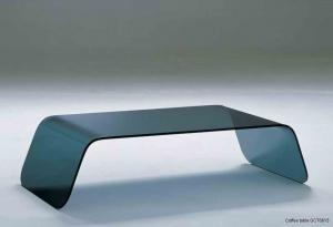 Quality Bending Rectangle Glass Coffee Table , Simple Glass Side Table , Bend grey glass for sale