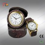 China Elegant classic travel PU leather desk clock and watch gift set for promotion wholesale