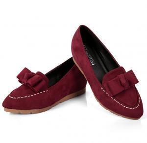 China Lady  flat shoes in suede leather upper with flower bowknotIncreased within women shoes Sexy point toe on sale