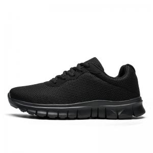 China Full Black Lightweight Running Trainers Lace Up With SGS Certification on sale
