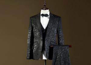 Quality Formal CeremonialMens Tuxedo Suits Two Button Printed Pattern Regular Fitting for sale