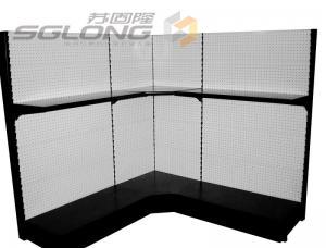 China Punch Board Retail Gondola Shelving Perforated Corner Shelf Color Optional on sale