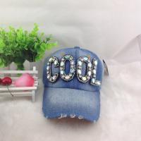 China Wholesale Diamond Letter Baseball cap hip hop Adjustable cowboy caps Denim cap outdoor cap on sale